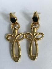 Goldtone Cross Dangle Earrings Modern Fashion Crucifix Christian