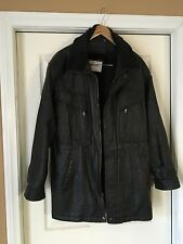 Tanners Avenue New York Men's Leather Jacket Heavy Winter Coat Size L Black