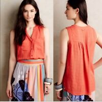 Maeve Anthropologie Sunseeker Orange Notch Neck Pocket Tank Top Blouse Size 8