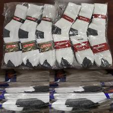 Wholesale Lot Men's White W/Blue Black Gray Work Sports Casual Cotton Crew Socks