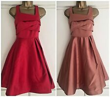 NEW EX COAST AMORE SATIN PROM DRESS RED / CARAMEL SIZE 6 - 18