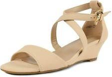 Dream Pairs Women's Jones Nude Nubuck Low Wedge Pump Sandals Size 9 M US