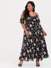 9a521af396 Torrid Black Floral Cold Shoulder Chiffon Maxi Dress 3X 22 24 #36422