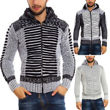 Mens Cardigan Hood Faux Fur Hot Sweater Slim Toocool Winter B317