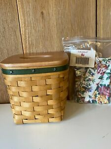 Longaberger 2006 Tall Tissue Basket w Lid and Protector Star Decals