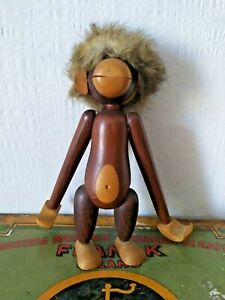 Vintage Wood  monkey Made in Italy wood toys fur