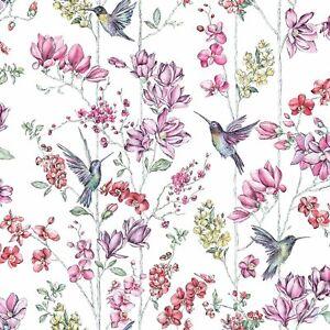 Holden Decor Charm Floral Hummingbirds Wallpaper - White / Multi - 12390