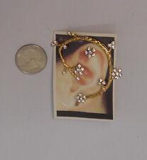 Women Climber Earrings Rhinestones Gold Tones Push Back Fasteners FASHION JEWELR