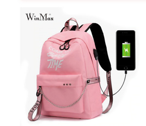 Luminous Letters Teenage Girl Backpack for School With USB Charger