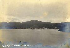 Org Foto CDV St. Thomas Karibik um 1900 Kriegsschiff Flagge England Antillen