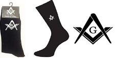 Freemasons Masonic Mens Black Socks with ''G'', UK shoe size 5-12 (X6MG)