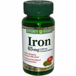 100 Iron 65mg Ferrous Sulfate Nature's Bounty Mineral Supplement Energy Cell NEW
