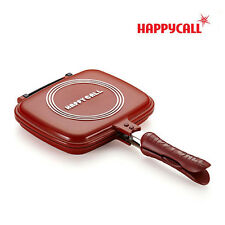 "Happycall Happy Call Double Sided Grill Pressure Frying Pan 21CM (8"") RED Korea"