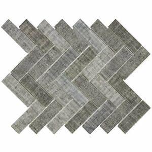 Classic 1X4 Herringbone Beige Gray linen-look Matte Glass Mosaic Tile MTO0516