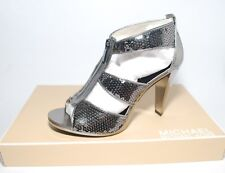 MICHAEL KORS BERKLEY STRAP SEQUINED HEELS IN GUNMETAL size 6