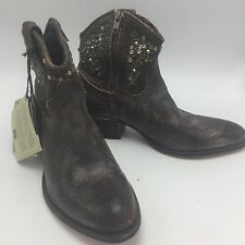 FRYE Deborah Brown Distressed Studded Leather Ankle Western Boots, NEW Size 8