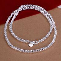 Damen Halskette Venezianerkette 4mm breit  45cm lang pl. Sterlingsilber