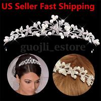 Wedding Bridal Princess Crystal Tiara Wedding Crown Veil Hair Accessory