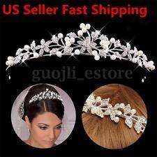 Wedding Bridal Princess Crystal Tiara Wedding Crown Veil Hair Accessory Silver