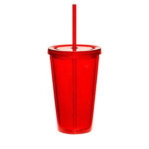 16oz Double Wall Acrylic Tumbler Pool Beach Cup Mug with Straw