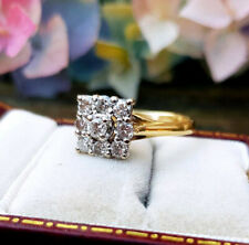 0.50 Ctw Round Cut Diamond Ladies Cluster Engagement Ring 14k Yellow Gold Over