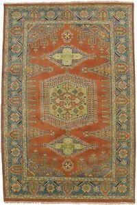 Handmade Wool Orange Indo-Viss 6X9 Tribal Design Oriental Rug Home Decor Carpet
