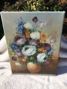 Handarbeit Leinwand ÖLBILD Blumen NP 35,-€ UNIKAT Kunst Gemälde bunt signiert