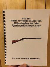 J. STEVENS MODEL 70 VISIBLE LOADER 22 CAL PUMP RIFLE INSTRUCTION MANUAL, 10 PAGE