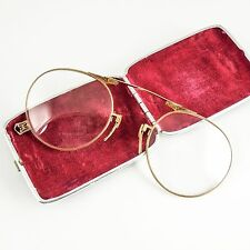 Art Deco Lorgnette Vintage Folding Spectacles Glasses, Case, American Optical GF