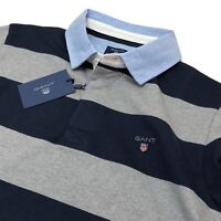 Gant Mens Rugby Polo Shirt Striped Heavy Rugger Sweatshirt Grey M / L / XL