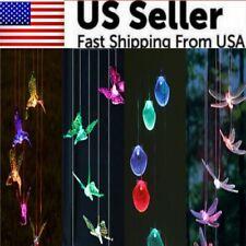 Led Solar Powered Hummingbird Wind Chime Light Color Changing Yard Garden Decor