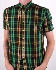 Trojan Records TC 1003 Windowpane Short Sleeved Shirt Green Men's