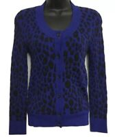 McQ by Alexander McQueen $299 Leopard Cardigan Size Small IT 38 US 2 Blue EUC