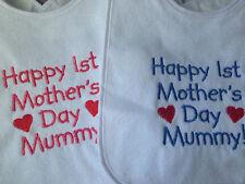 Baby Boy,Girls or Neutral Machine Embroidered Bibs-,Happy 1st Mother's Day Mummy