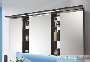 Puris Linea Bad Spiegelschrank 130 cm mit LED+Spiegelregal (9 Dekore wählbar)