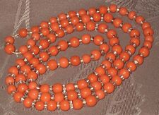 """Vintage Coral Color & Faceted Clear Glass Art Bead Strand Necklace, 28"""" Long"""