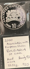 New Listing2000 Bulgaria 10 Leva Assoc with Eu / 23 gr .925 Silver & *No Reserve!