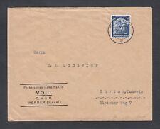 GERMANY 1936 25PF SAARLAND RETURNS COVER POTSDAM TO ZURICH SWITZERLAND CAT 35EUR