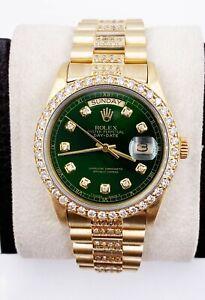 Rolex President Day Date 18038 Green Diamond Dial Bezel Band 18K Yellow Gold