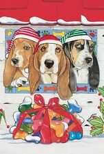 BASSET HOUND TRIO  HOLIDAY CARDS / 10 PACK