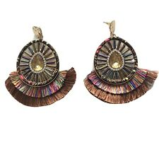 womens earrings Boho Dangle Rhinestones Beaded And Silk Theads Multicolor