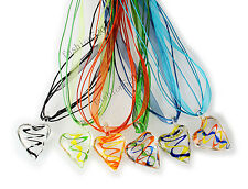 FREE Wholesale Lot 6pcs Stripe Heart Lampwork Glass Pendants Silk Necklace