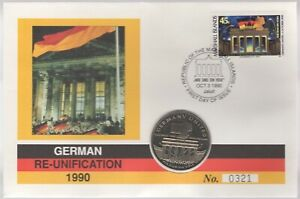 1990 German Re-Unification Of The Marshall Islands $5 Dollar FDC |Pennies2Pounds