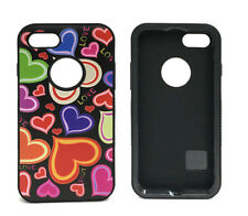 ASMYNA Durable Slim Protector Case Cover For iPhone 7 - Hearts/Black