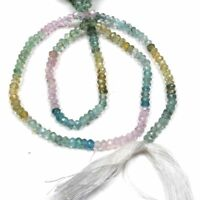 "3-4mm Handmade Multi Aquamarine Gemstone Rondelle Faceted Jewelry Beads 13"""