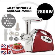 Electric Meat Grinder Sausage Maker Filler Grind Mince Blades Carry Handle RED
