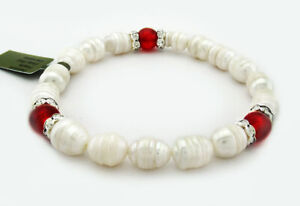GENUINE FRESH WATER PEARLS & RED CARNELIAN BRACELET * Band New With Tag *