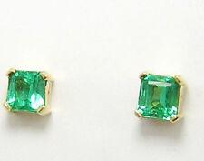 Colombian Emerald Earrings Square Cut 1.62 Cts 18K Yellow Gold Fine Jewelry Muzo