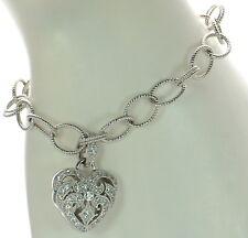 """Joseph Esposito Diamonique Solid 925 Sterling Heart Charm Bracelet 7-1/4""""L '"""
