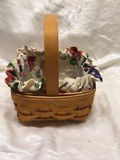 Longaberger New Tarragon Booking Basket Fruit Medley Fabric Liner Protector Set